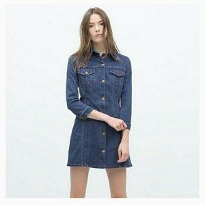 Zara Stretch Denim Mini Dress Button Front
